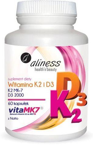 ALINESS Witamina K2 MK-7 100µg + Witamina D3 2000 j.m. x 60 kapsułek