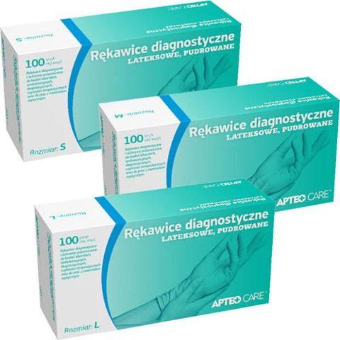 APTEO CARE Rękawice diagnostyczne lateksowe rozmiar M x 100 sztuk
