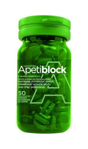 Apetiblock smak miętowy x 50 tabletek musujących do ssania