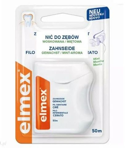 ELMEX Nici dentystyczne woskowane miętowe 50m