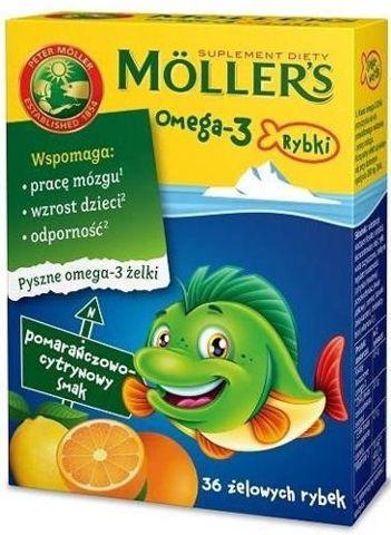 MOLLER'S Omega-3 Rybki pomarańczowo-cytrynowe x 36 żelek