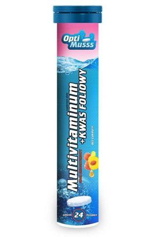 Multivitaminum+Kwas Foliowy OptiMusss x 24 tabletki musujące