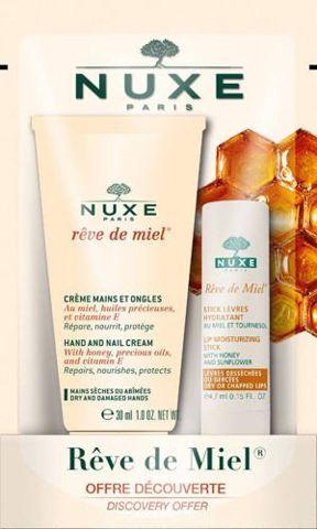 NUXE Reve de Miel Ultraodżywcza pomadka do ust 4g+Krem do rąk i paznokci 30ml