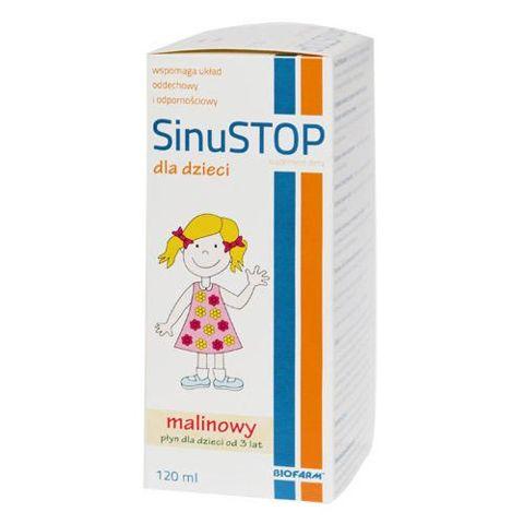 SINUSTOP Dla dzieci płyn o smaku malinowym 120ml data ważności 11.2016