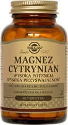 SOLGAR Magnez cytrynian x 60 tabletek