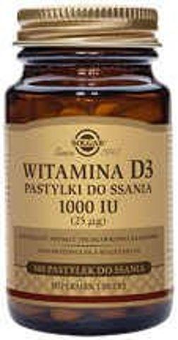 SOLGAR Witamina D3 25mcg 1000 IU x 100 pastylek do ssania