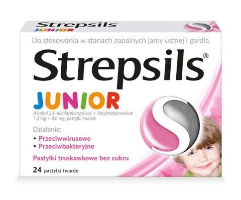 STREPSILS JUNIOR x 24 pastylki smak truskawkowy