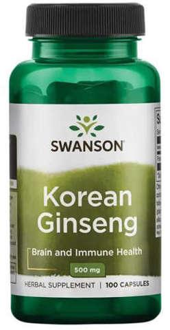 SWANSON Korean Ginseng (Żeń-Szeń) 500mg x 100 kapsułek
