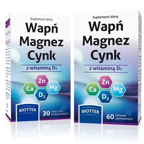 WAPŃ MAGNEZ CYNK z witaminą D3 x 60 tabletek + 30 tabletek Gratis