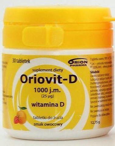 ORIOVIT-D 1000 j.m. 25µg x 30 tabletek do żucia