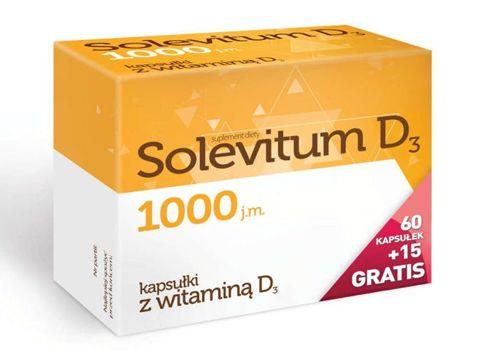 Solevitum D3 1000j.m. x 60 kapsułek + 15 gratis! - data ważności 31-07-2018r.